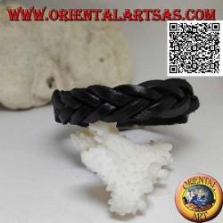 Bracciale in vero cuoio, treccia di 5 fili con chiusura a fibbia e 5 lunghezze (nero)