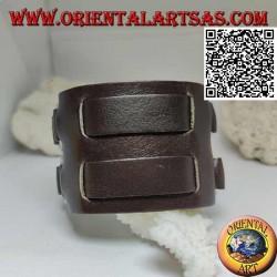 Bracciale largo in vero cuoio, doppia fascetta tra anelli con chiusura a fibbia e 5 lunghezze (marrone)