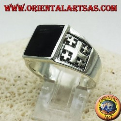 Ring Jerusalem Cross with Onyx Silver