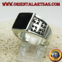 Ring Jerusalem-Kreuz mit Onyx Silber