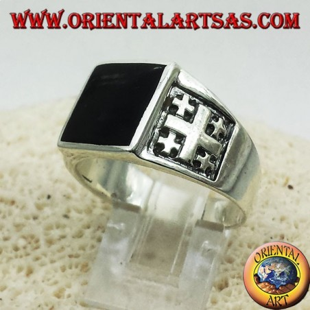 Ring Jerusalem Cross with Onyx Silver