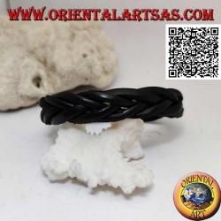 Bracciale in vero cuoio, treccia di 5 fili con chiusura a clip e 2 lunghezze (nero)