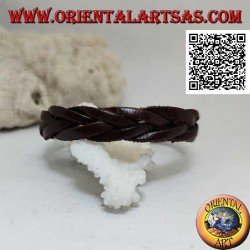 Genuine leather bracelet, 5 strand braid with clip closure and 2 lengths (brown)