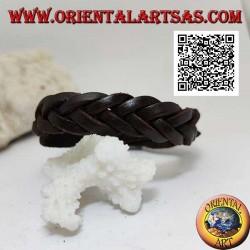 Bracciale in vero cuoio, treccia di 5 fili con chiusura a fibbia e 5 lunghezze (marrone)