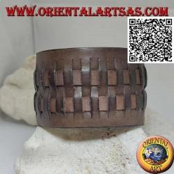 Breites Armband aus echtem Leder mit 2 Geweben im Strohstil mit Clipverschluss und 2 Längen (braun)