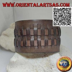 Wide bracelet in genuine leather, with 2 weaves in straw style with clip closure and 2 lengths (brown)