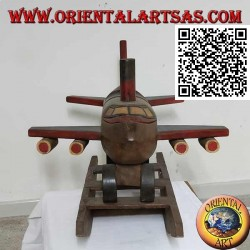Colored rocking plane in Suar wood (solid), hand painted