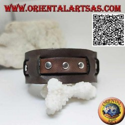 Genuine leather bracelet, studs on broken strap with buckle closure and 5 lengths (brown)