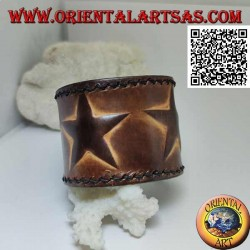Wide bracelet in real leather, three stars in relief with clip closure and 2 lengths
