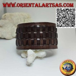 Wide bracelet in genuine leather, with 3 weaves in straw style with clip closure and 2 lengths (brown)