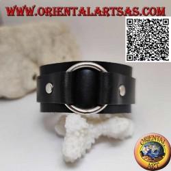 Bracciale in vero cuoio, anello centrale tra fascette con chiusura a fibbia e 5 lunghezze (nero)