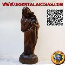 Scultura statua di una madre con bambino in grembo realizzata da un unico blocco di legno di suar (148 cm)