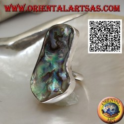 Silver ring with large irregular paua shell (abalone) on a simple band