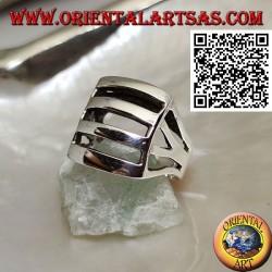 Bague en argent perforée convexe rectangulaire lisse avec quatre bandes