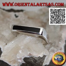 Silver ring with narrow rectangular onyx flush with the edge on a thick smooth frame