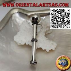 Ciondolo in argento a forma di cannuccia/pippotto con tre intrecci separati