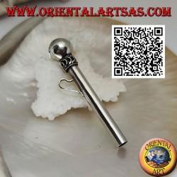 Ciondolo in argento a forma di cannuccia/pippotto con intrecci e virgolette
