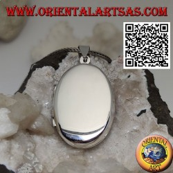 Flat oval smooth silver photo frame pendant (31 * 22)