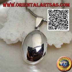 Ciondolo portafoto in argento liscio ovale bombato (22*16)