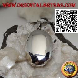 Abgerundeter ovaler glatter silberner Fotorahmenanhänger (36 * 24)