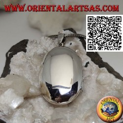 Ciondolo portafoto in argento liscio ovale bombato (36*24)