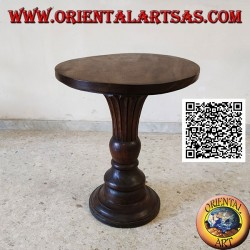 Round coffee table with blossoming conical central base hand carved in teak wood (72 cm)