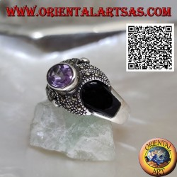 Silver ring with oval natural amethyst on a cross studded with marcasite and onyx on the sides