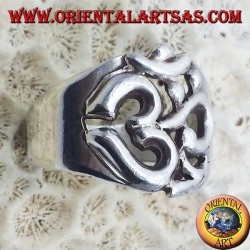 ring sacred syllable OM symbol in silver
