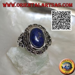 Silver ring with oval cabochon lapis lazuli surrounded by marcasite and perforated butterfly on the sides