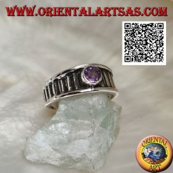 Silver ring with natural round amethyst on vertical striped frame