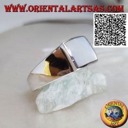 Silver ring with square mother of pearl flush with raised edge on smooth frame
