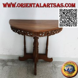 Half-moon console table with handcrafted teak wood openwork floral decoration