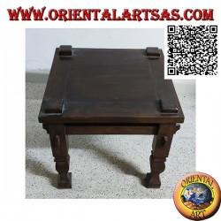 Tavolino basso da salotto in stile primitivo in legno massiccio di teak (50*50)