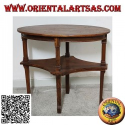 Oval two-tier coffee table in handmade teak wood (77cm x 47cm)