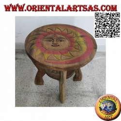Low round coffee table in suar wood with hand painted engraved sun