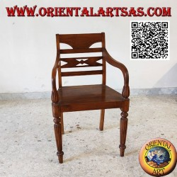 Raffles style armchair with wooden bottom, in teak wood