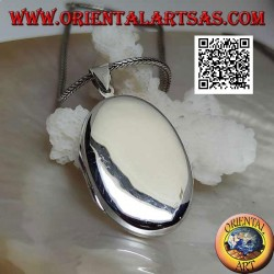 Flat oval smooth silver photo frame pendant (34 * 25)