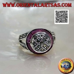 Marcasite-studded dome silver ring and natural oval ruby ring
