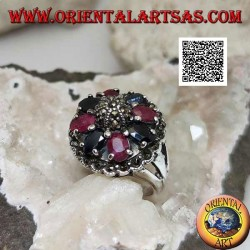 Silver ring with natural oval rubies and sapphires set with central maracssite on dome and around
