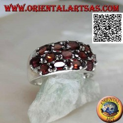 Silver band ring with three rows of oval natural garnets set in a checkerboard pattern