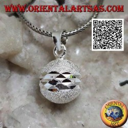 """""""Call of the Angels"""" sandblasted silver pendant cut by double diamond band (Ø 16mm.)"""