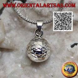 """Silver pendant """"Call of the Angels"""" with horizontal diamond processing (Ø 13mm.)"""