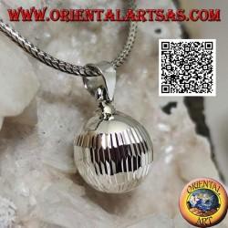 """Ciondolo in argento """"Chiama Angeli"""" a lavorazione diamantata allungata (Ø 13mm.)"""