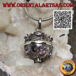 "Silver pendant ""Call of the Angels"" with small flowers in relief and central pink zircon (Ø 20mm.)"