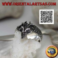 Silver ring in the shape of a royal deer studded with marcasite