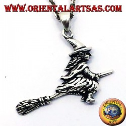 Silver pendant bewitches the witch on the broom