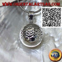 """Silver pendant """"Call of the Angels"""" with horizontal diamond processing (Ø 21 mm.)"""
