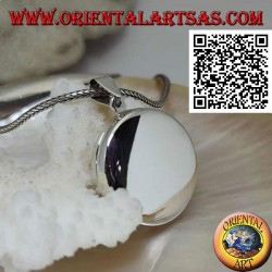 Photo frame pendant in smooth flat round silver (25 mm.)