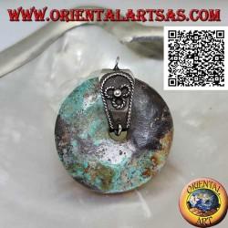 Ciondolo di turchese naturale a ciambella da 30 mm. di diametro Ø con gancio in argento
