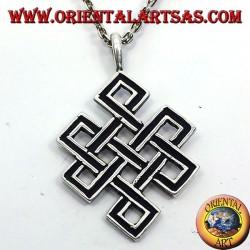 Pendant endless knot or Srivatsa Tibetan silver